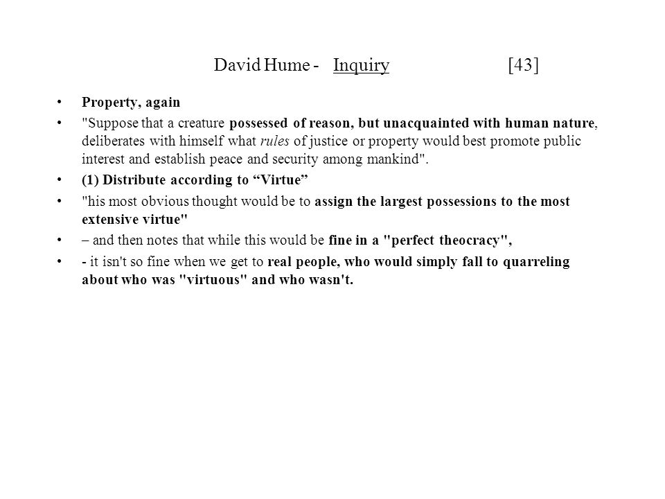 David Hume - Inquiry [43] Property, again